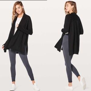 lululemon Blissful Zen Sweater Black Open Cardigan
